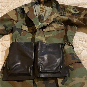 DKNY chic black leather waist bag